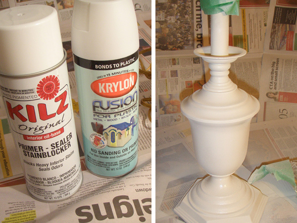 Spray Painting a Lamp